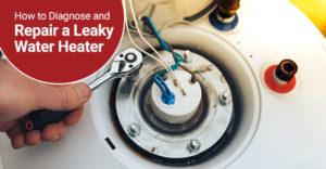 Man repairing a leaky water heater.
